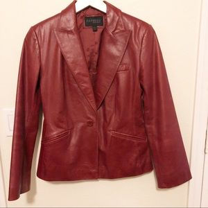Vintage fitted red leather blazer, 3/4